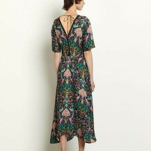 Sandro Dress Printed Jacquard Silk Brand New